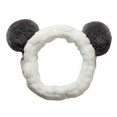 ヘアバンド 洗顔 かわいい 動物 パンダ型 柔らかい 吸水 ターバン お風呂 化粧 伸縮性あり ふわふわ パンダ耳 グレー