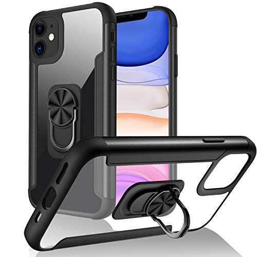 FayTun Funda Compatible con iPhone 11 Carcasa con 360 Grados Imán Soporte, Resistente Funda de protección contra caídas de Grado Militar Resistente a Golpes para iPhone 11-6.1' (Negro)