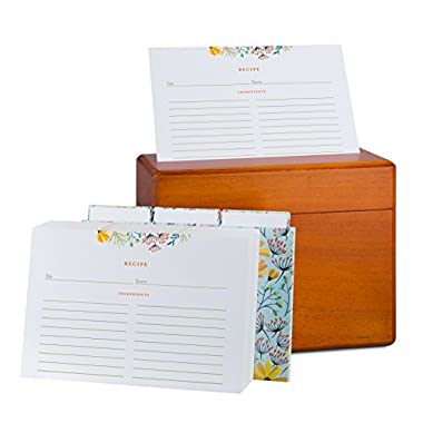 Wooden Recipe Box and Cards Set: Vintage Maple Wood Kitchen Recipes Holder and Organizer Gift Box with Warm Rustic Varnish - Bundle of 100 4x6 Double Sided Floral Index Cards and 12 Dividers Included