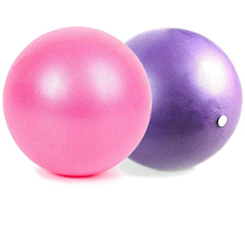 nononfish Mini Exercise Barre Ball for Yoga,Pilates,Stability Exercise Training Gym Anti Burst and Slip Resistant Balls with Inflatable Straw (Pink&Purple)