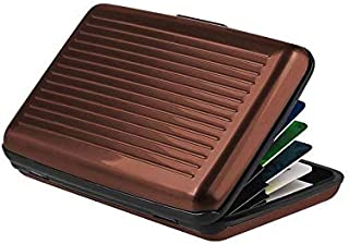 محفظة الومنيوم لبطاقات الائتمان للجنسين - بني