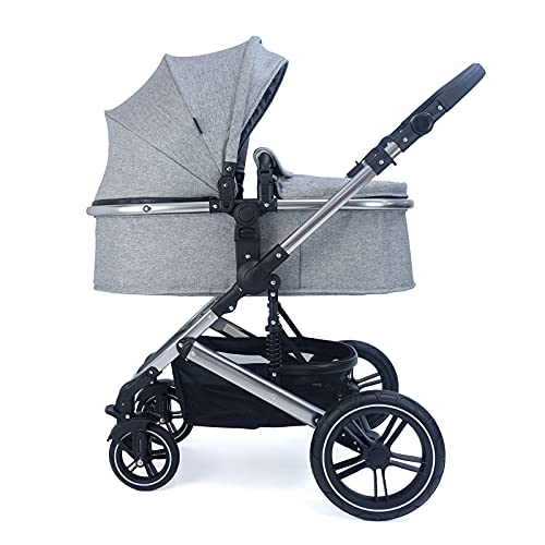 Pixini Cochecito de bebé Neyla con bañera de tela, asiento, bolso cambiador, portavasos, protector de lluvia, mosquitera, cambiador en cromo/gris