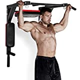 Merax Multi-Grip Wall Mounted Pull-Up Bar - Chin-Up Bar Dip Stand Power Tower Set for Home Gym Strength Training Equipment [Supports 440LBS] (Black)