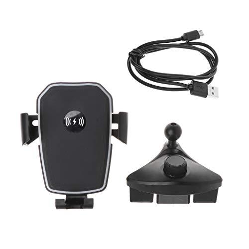 Joocyee Car Qi Cargador Inalámbrico CD Mount Soporte Giratorio de 360 ° para iPhone X 8 Samsung S8, con Cable De Carga Rápida 10W Car CD Gravity Soporte De Carga Inalámbrica, Negro