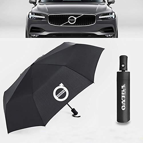 AniFM Automatischer Regenschirm für 2019 Schwarz Ford & Volvo & KIA Logo Frauen Männer Winddichte Regenschirme Männlich