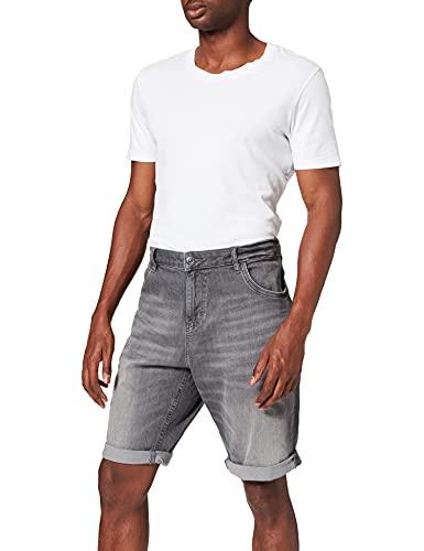 TOM TAILOR Herren 1025047 Josh Denim Bermuda Shorts, 10213-Clean Mid Stone Grey, 36