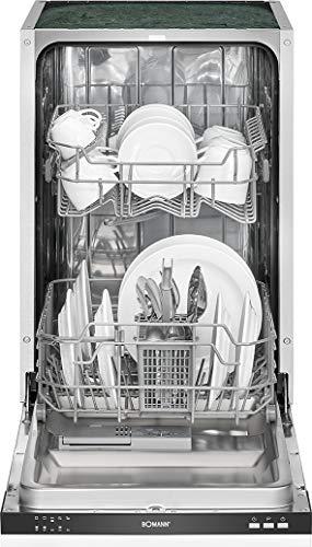 Bomann GSPE 7415 Einbau-Geschirrspüler, vollintegrierte Ausführung, 45 cm breit, 9 Maßgedecke, 5 Programme, LED-Kontrollanzeigen, weiß