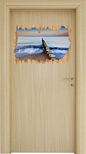 Preisvergleich Produktbild Steine im Meer Holzdurchbruch im 3D-Look,  Wand- oder Türaufkleber Format: 62x42cm,  Wandsticker,  Wandtattoo,  Wanddekoration