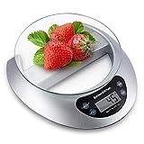 Bonsenkitchen Balance de Cuisine Numérique Balance Alimentaire Électronique de Haute Précision avec Fonction de Tare, Affichage LCD et Retrait du Plateau en Verre, 5kg/11Lb, Argent (KS8802)