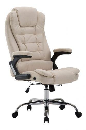 XXL Chefsessel Thor mit Stoffbezug, max. belastbar bis 150 kg, Bürostuhl mit Armlehnen, höhenverstellbar, Drehstuhl mit dickem Polster, Farbe:Creme
