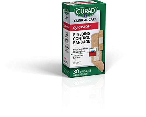 CuradCUR5245V1 Quickstop Instant Clotting Technology Flex Fabric Bandages Helps with Minor Bleeding Assorted Sizes 30 ct Pack of 3