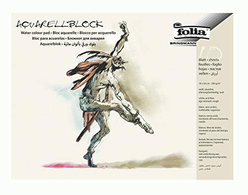 folia 8331 - Aquarellblock, rauh, 200 g/qm, ca. 18 x 24 cm, 10 Bogen, 4-fach geleimt - Aquarellpapier weiß, säurefrei, alterungsbeständig