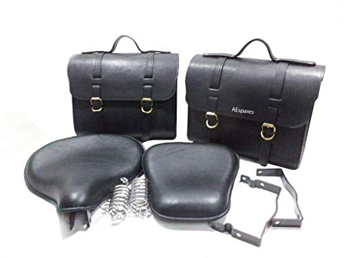AEspares Fits Royal Enfield Standard Black Pure Leather Saddle Bags & Front Rear Seat