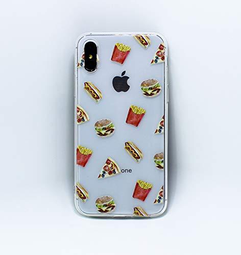 HEYORUN Hamburg Hülle Kompatibel mit iPhone Xs/iPhone X, Cute Sandwich Design Mädchen und Frauen Back Cover, Ultra Slim Soft TPU Stoßfest Flexible Schutzhülle Clear Case Cover
