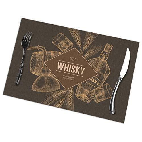 Harry wang Tischsets für den Speisetischsatz von 6, Vektor-Whisky-Produktions-Schablone, Flieger, Konzept. Vintage handgezeichnete Elemente. Tischdecke