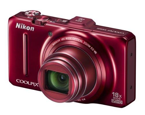 """Nikon Coolpix S9300 Fotocamera Digitale Compatta, 16,1 Megapixel, Zoom 18X, 3200 ISO, LCD 3"""", colore: rosso"""