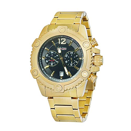Nautec No Limit Herren Multi Zifferblatt Quarz Uhr mit Edelstahl Armband TRBD-QZ GD-BK