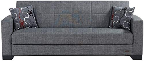 BEYAN Vermont Modern Chenille Fabric Upholstered Convertible Sofa Bed with Storage, 84', Gray