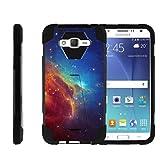 TurtleArmor | Compatible with Samsung Galaxy J7 (2015) Case | J700 [Dynamic Shell] Hybrid Dual Layer Hard Shell Kickstand Silicone Case - Colorful Nebula Galaxy