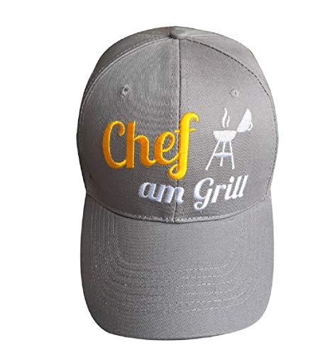 Rostalgie Textil Kappe grau mit Spruch zum Thema Grillen Männer Geschenk (Chef am Grill)