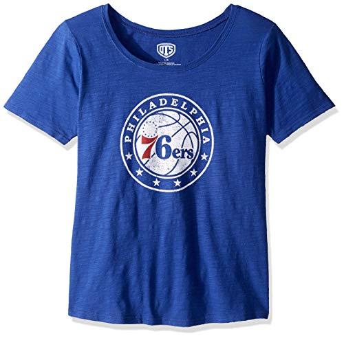 OTS NBA Philadelphia 76ers Women's Slub Scoop Tee, Distressed Logo, Medium