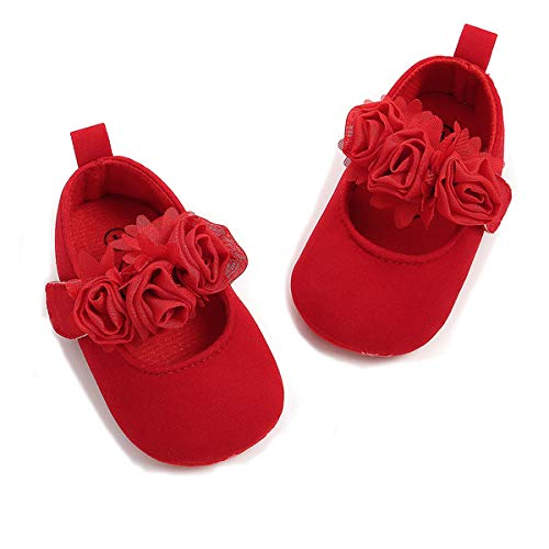 TIMATEGO Baby Girl Mary Jane Flats Shoes Non Slip Soft Sole Infant Toddler First Walker Wedding Princess Dress Crib Shoes, 0-6 Months Infant, 03 Red Baby Girl Shoes