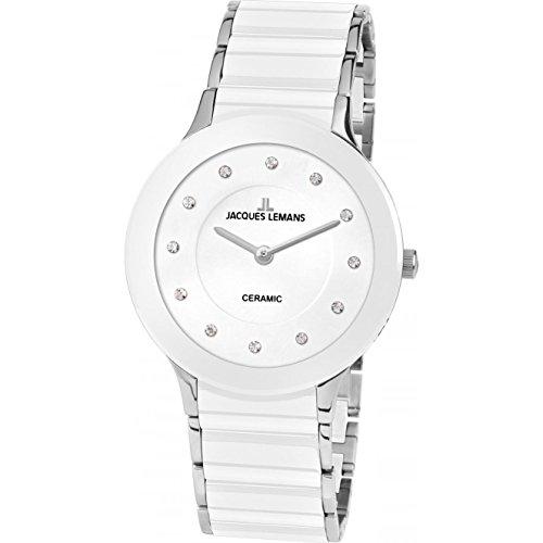 Jacques Lemans Damen Analog Quarz Uhr mit Edelstahl Armband 1-1856F