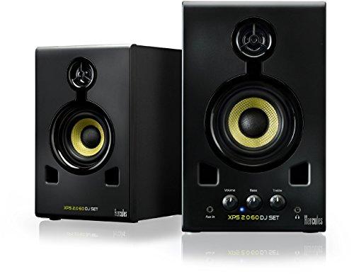 Hercules XPS 2.0 60 DJ Set - Altavoces para DJ 2,0, 60 W, Entrada de línea RCA, rueda control volumen bajos agudos