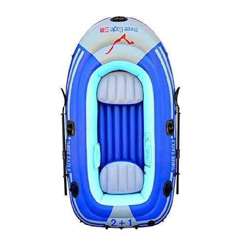 GUOE-YKGM Kayak Faltbares Kajak-Gummiboot - 3-Personen-Schlauchboot-Set Mit Schlauchboot, Aluminiumrudern Und Handpumpe - Angler Und Freizeitsportler Sitzen Auf Leichtem Angelkajak In Blau