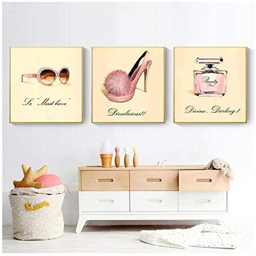 Terilizi Nordic poster kunstdruk poster zonnebril High Heels handtas parfum muurschildering voor Clothes Shop Home Decor-40 * 40cm niet ingelijste 3 stuks