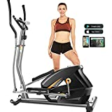 FUNMILY Eliptical Exercise Machine,Elliptical Cross Trainer for Home Use,Heavy-Duty Gym Equipment for Indoor Workout & Fitness with 10-Level Resistance&Max User Weight:390lbs (Silver)