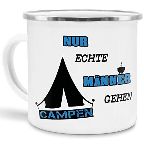 Tassendruck Emaille-Tasse Nur echte Männer gehen campen - Camping/Witzig/Edelstahl-Becher/Metall-Tasse/Urlaub/Zelten/Mann