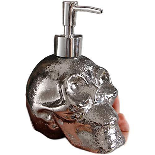 SKLHSIL Dispensador Jabón Cerámica,450Ml Plata Cráneo Forma Prensa Bomba Champú Ducha Gel Almacenamiento Botella Cocina,Baño,Sink Hotel Sannitizer Botella De Reutilización Rellenable
