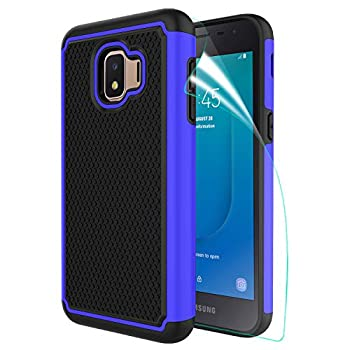 Innge for Samsung Galaxy J2 Case,J2 Core Case,Galaxy J2 Dash/Galaxy J2 Pure/J2 Shine/J260 Phone Case with Screen Protector,[Shockproof] Dual Layer Armor Defender Phone Case Cover,Blue