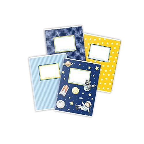 4 cuadernos de alta calidad para niños DIN A5 | rayado y cuadriculado 32 páginas - motivo astronauta - para empezar la escuela para los alumnos de primaria - set número 5 - 16 hojas