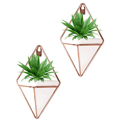 Originalidad Hanging Planter Ceramic & Geometric Wall Planter Container for Succulent Plants, Air Plant, Mini Cactus, Faux Plants and More Home Décor, White and Rose Gold (Set of 2)