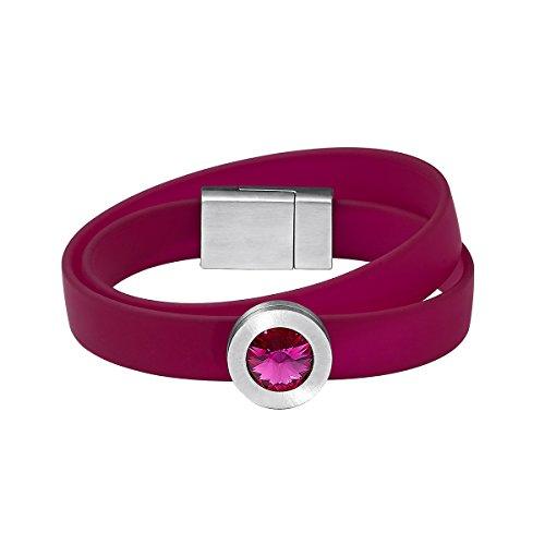 Heideman Armband Damen Colori Fuchsia pink 2 Fach aus Edelstahl blau und Silber farbend matt Armkette für Frauen mit wechselbaren Swarovski...