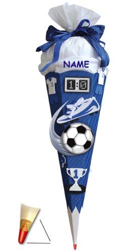 alles-meine.de GmbH Komplettset: Bastelset Schultüte -  Fußball - blau / weiß  - 85 cm - incl. Namen - mit Holzspitze - Zuckertüte Roth - ALLE Größen - 6 eckig - Fußballer Fuss..
