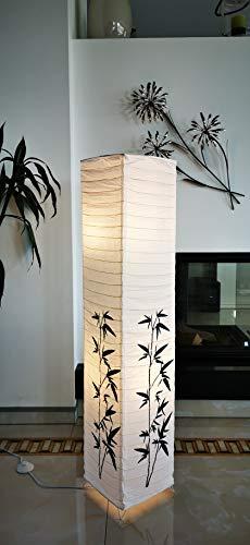 Trango 1216 Modern Design Stehlampe *KOREA* Reispapier Lampe in Eckig mit Bambus Dekor, Stehleuchte 125cm Hoch, Wohnzimmer Deko Lampe, Stehlampe mit Lampenschirm incl. 2x E14 Lampenfassung