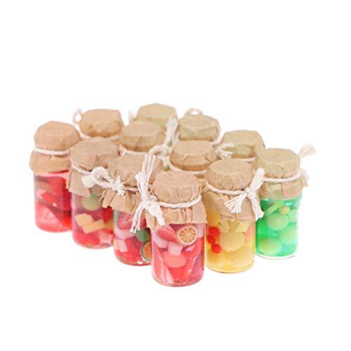 TBoxBo 12 unids casa de muñecas en miniatura mermelada frutas enlatadas set juguete muñeca comida cocina accesorios comida juego casa muñecas miniaturas