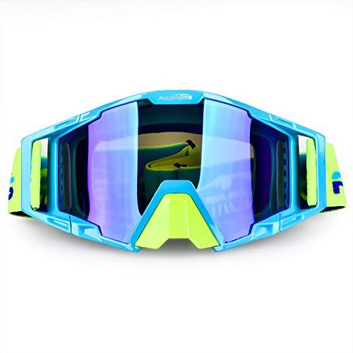 Fodsport Gafas de Moto Gafas Crossed Gafas Ciclismo Gafas Protección Mascara para Moto Motocross Esqui Deporte Ajustable (QM00017A3)