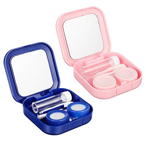 Smilcloud 2er-Pack Kontaktlinsenbehälter Kontaktlinse Kasten Kontaktlinsen Aufbewahrung Modische Reise Kontaktlinsen für Aktivitäten im Freien