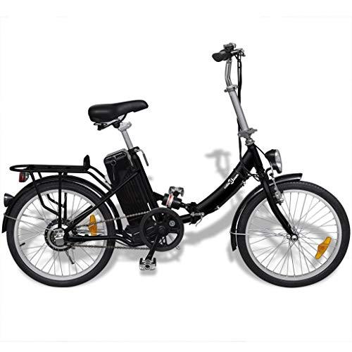 Tidyard Bicicleta eléctrica Plegable de Aluminio batería Litio-Ion Negro