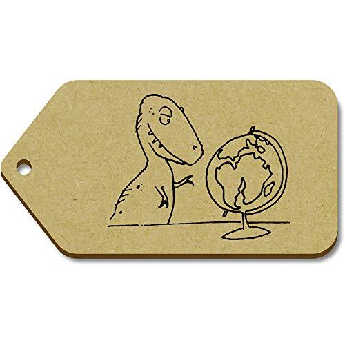 Azeeda 10 x Large 'T-Rex & Globe' Wooden Gift Tags (TG00093292)