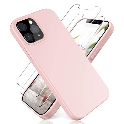 N+A YiKaDa - Funda Compatible con iPhone 12 y Compatible con iPhone 12 Pro + [2 Unidades] Cristal Templado Protector de Pantalla, Cáscara Suave de Silicona TPU Líquida - Rosado