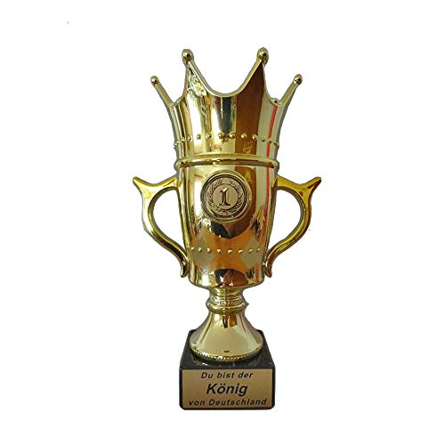 RaRu Krone/Königs-Pokal mit Ihrer Wunschgravur und wählbarem Sport-Emblem (Angeln)