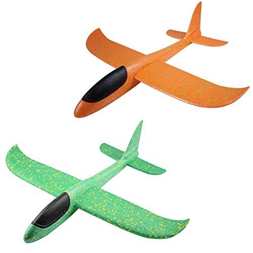 2 aviones de espuma de poliestireno, avión para niños, avión, juguete para exteriores, lanzamiento de vela, modelo para niños, aprox. 36 cm