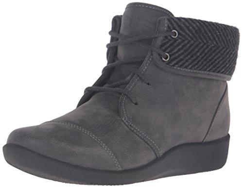 Clarks Women's Sillian Frey Boot, Grey Synthetic Nubuck, 9 M US