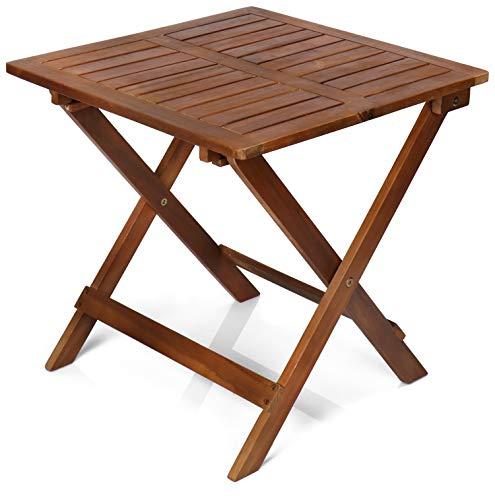 com-four® Klapptisch aus Holz - Holztisch für Garten, Terrasse und Balkon - platzsparender Gartentisch - Beistelltisch (1 Stück - Klapptisch braun)