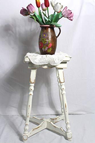 Shabby Tischchen bezaubernder alter Holz Beistelltisch/Blumentisch creme weiß 60er Jahre Shabby Chic Möbel Vintage Landhaus